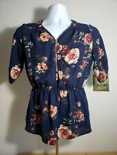 J For justify Women Blue Floral Short Sleeve Blouse Medium Front Zipper