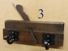 Vintage wooden rebate rabbet plane for wall mount pair of coat hooks shabby chic