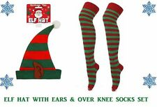 ELF SET- PIXIE ELF HAT WITH EARS GREEN & RED STRIPE SOCKS CHRISTMAS FANCY DRESS