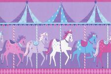 BLUE PURPLE HORSE CAROUSEL CHILDRENS KIDS BABY GIRLS WALLPAPER BORDER DLB50081