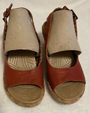 Crocs A-Leigh Wedge Red Leather Peep Toe Cork Heel Slingback Wedge Sandal Size 7