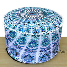 "22"" Indian Mandala Ottoman Round Pouf Cover Cotton Handmade Footstool Seat Cover"