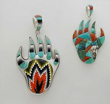 STRIKING HANDMADE BEAR PAW PENDANT IN TURQUOISE/MULTICOLOR INLAY IN .925 SILVER