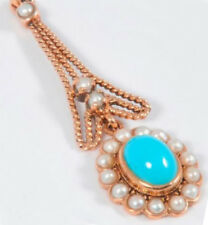Genuine 9ct Solid Rose Gold NATURAL Turquoise & Pearl Flower Drop Pendant