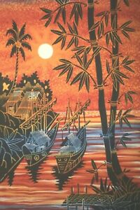 BOAT AND ORANGE SUN HAND DRAWN BATIK PAINTING FOR HOME DECORATION WALL HANGING