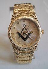 Men's Gold finish TECHNO PAVE Mason Nugget Style  Fashion wrist  watch