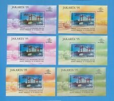 INDONESIA - scott 1613  VFMNH set of SIX S/S - sold at Jakarta stamp expo 1995