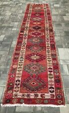 """Turkish Wool Runner, Vintage Hand Knotted Soft Pile 12'10""""x 2'10"""" Free Shipping!"""