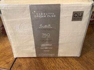 Wamsutta Dream Zone PimaCott 750 TC Supima Cotton QUEEN Sheet Set Solid Ivory
