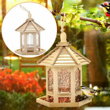 Wooden Bird Feeder Hanging Hexagon Shaped With Roof For Garden Yard Tree Decor