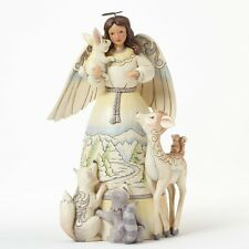 """Jim Shore """"PEACE TO ALL"""" White Woodland Angel With Animals ~ NEW ~MIB"""