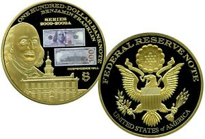 COLOSSAL ONE HUNDRED DOLLAR BANKNOTE COMMEMORATIVE COIN PROOF VALUE $129.95