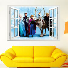 ice queen Cartoon Window 3D Wall Sticker PVC Children Room Decoration Removable