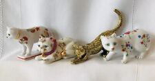 4 Franklin Mint Curio Cabinet Cat Kakiemon Satsuma Asian Brass Faience Figurines