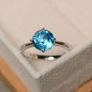 Natural Round Cut Swiss Blue Topaz Engagement/Wedding Ring December Stone ring