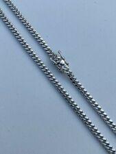 "Men's Miami Cuban Chain Solid 925 Sterling Silver 4mm 18-30"" Box Lock Necklace"