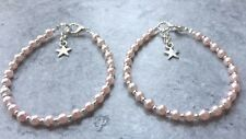 Two Childrens Baby Pink Glass Pearl Silver Plated Bead Anklets 16.5cm (1-2 Yrs)