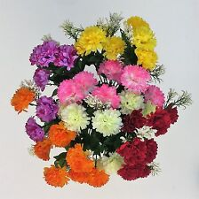 Artificial Flowers . 6 Mini Mum Bunches in Assorted Colours Indoor & Outdoor
