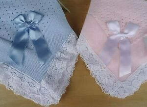 Portuguese Baby Knitted Blue Pink Crochet Edging Shawl Blanket 120x100cm Boxed