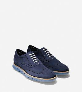 Men's Zerøgrand Wingtip Oxford - Marine Blue Suede 12 C25294 NIB $180 MSRP