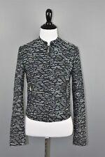 H&M Women's Black Multi-Color Tweed Full Zip Cropped Jacket Size 2 NEW