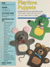 TOY CROCHET PATTERNS: 3 PUPPETS - BEAR, MOUSE & DINOSAUR & 2 LOOP STITCH TEDDIES