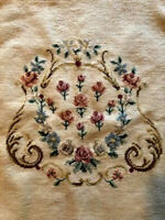 Large VICTORIAN NEEDLEPOINT / PETIT POINT FLORAL ART - Formally a chair cover