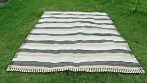 8x10 Large Kilim Striped Rug Turkish Vintage Rug Brown Beige 8 x 10 Area Rug
