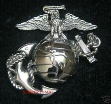 XL EAGLE GLOBE & ANCHOR HAT PIN US MARINES EGA GIFT PROMOTION RETIREMENT SILVER