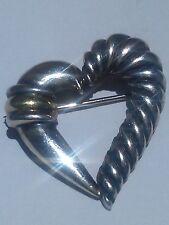 DAVID YURMAN Cable Heart Pin/Brooch w/14K(yg)Insert Over Sterling Silver, 4.5 gr