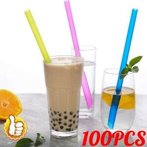 100Pcs Disposable Straws Neon Milkshakes Smoothies Thick Drinks Jumbo