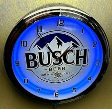 """16"""" BUSCH Beer Sign Blue Neon Wall Clock Garage Man Cave"""