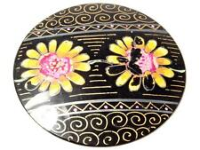 Antique Victorian gold gilt floral hand painted jet black glass jewelry element