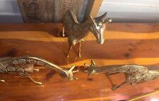 (3) Large Vintage Solid Brass Giraffe Figurines