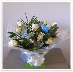 FRESH FLOWERS Delivered UK Luxury White Rose Bouquet Free Flower Delivery