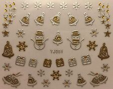 Nail Art 3D Decal Stickers Christmas Snowman Bells Snowflakes Presents YJ051