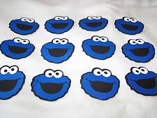 Cookie Monster die cut faces 50 party favors scrapbooking Sesame Street cupcake