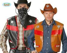Gilet NERO Cowboy Similpelle Travestimento Uomo del Far West Carnevale Halloween