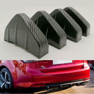 4x Carbon Fiber Style Rear Bumper Diffuser 4 Fin Carbon Fiber Style Anti-crash