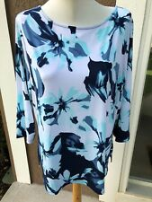 New Chico's Spring Bouquet 3/4 Slv Top Caribbean Blue White Sz 3 = XL 16 18 NWT