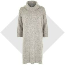 RIVER ISLAND GREY ROLL COWL NECK LONG SIDE SLIT TUNIC SWEATER JUMPER DRESS SMALL