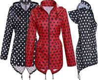 Ladies Plus Size All Over Print Contract Zip Fish Tail Hooded Mac Parka Jacket