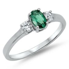 Emerald Green Oval Genuine Sterling Silver Ring