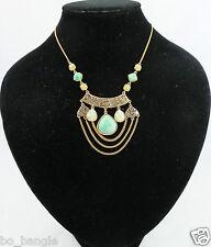 VERDE E Color Oro Stile Vintage Bijoux Collana catena
