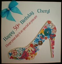 HANDMADE PERSONALISED DESIGNER SHOE BIRTHDAY CARD 18TH 21ST 30TH 40TH 50TH 60TH