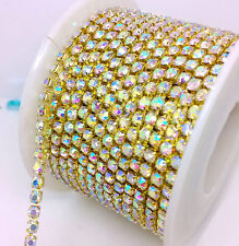10 Yards ss10 3mm Grade A+ Crystal AB Glass Clear Rhinestones Brass Chain