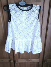 Holiday party White floral sheer lace waist peplum top by ASOS 10