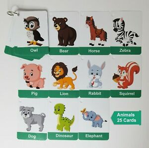 Children's Animals Flash Cards Kids Educational Pre School Learning Child Gift