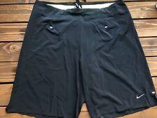 Mens Nike Dri Fit Black Neon Green Swimming Board Shorts Sz 34 Trunks Lined Run