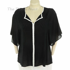ELLE Women's LARGE Batwing BLACK TOP Blouse with WHITE TRIM Lightweight Diamond